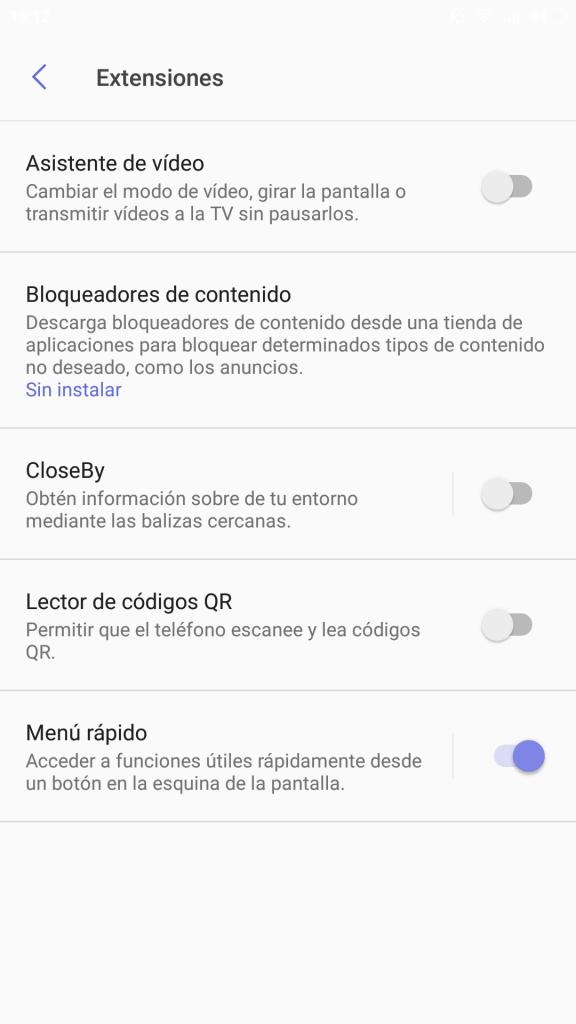Extensiones Samsung Browser